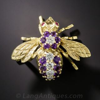 Amethyst and Diamond Bee Brooch by Rosenthal  - 2