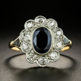 Antique 1.35 Carat Sapphire and Diamond Halo Ring  - 3