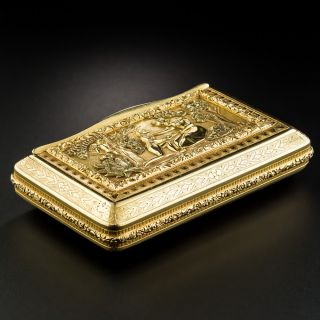 Antique 18K Gold Pictorial Box From Portugal