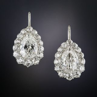 Antique 3.00 Carat Pear Shape Diamond Halo Earrings - 5