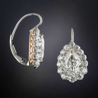 Antique 4.75 Carat Pear Shape Diamond Halo Earrings