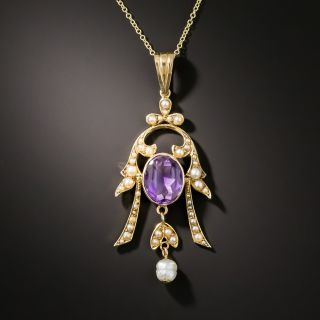Antique Amethyst And Seed Pearl Pendant - 2