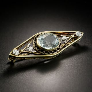 Antique Aquamarine and Diamond Brooch by Charles Keller - 2