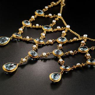 Antique Aquamarine and Pearl Bib Necklace