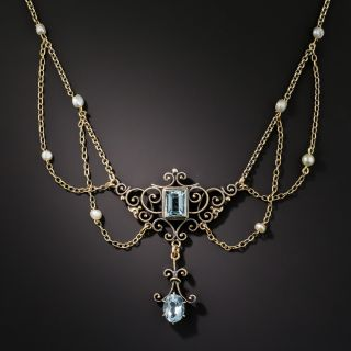 Antique Aquamarine and Pearl Swap Necklace, Circa 1900 - 2