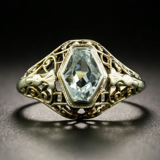 Antique Aquamarine Filigree Ring - 2