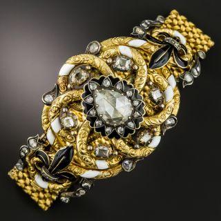 Antique Austro Hungarian Rose-Cut Diamond Enamel Bracelet - 1
