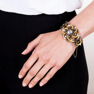Antique Austro-Hungarian Rose-Cut Diamond Enamel Bracelet