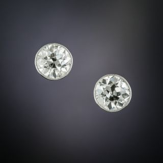 Antique Bezel-Set Diamond Stud Earrings