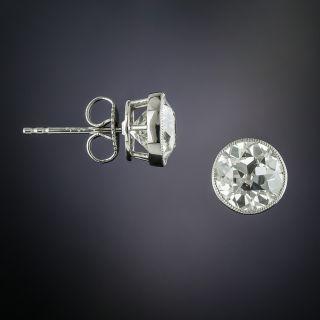 Antique Bezel-Set Diamond Stud Earrings, 3.53 Carats Total