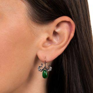 Antique Burmese Jade and Diamond Drop Earrings
