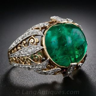 Antique Cabochon Emerald and Diamond Ring - 1