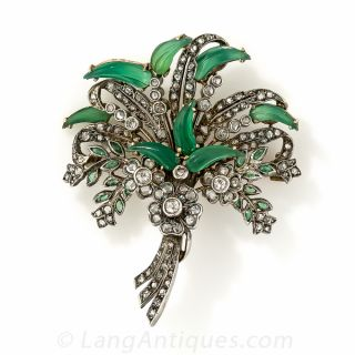 Antique Chrysoprase and Diamond Brooch