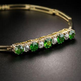 Antique Demantoid Garnet and Diamond Bracelet - 4