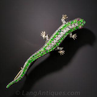 Antique Demantoid Garnet and Diamond Salamander Brooch - 1