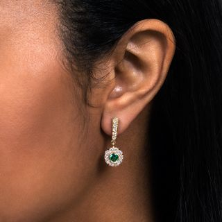 Antique Diamond and Emerald Drop Earrings