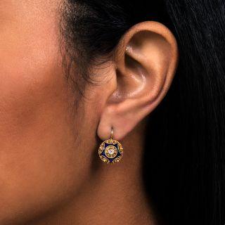 Antique Diamond and Enamel Cannetille Earrings