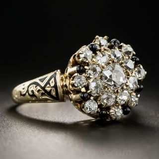 Antique Diamond and Enamel Cluster Ring