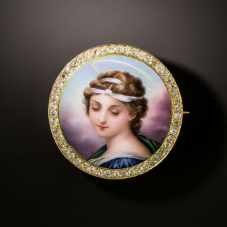 Antique Diamond and Enamel Portrait Brooch - 3
