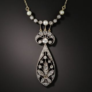 Antique Diamond and Natural Pearl Necklace - 1