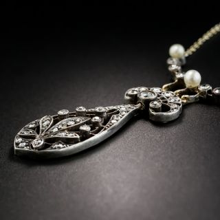 Antique Diamond and Natural Pearl Necklace