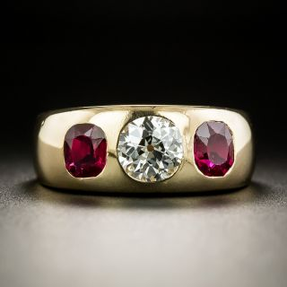 Antique Diamond and No-Heat Burmese Ruby Three-Stone Ring by T.B. Starr - 3