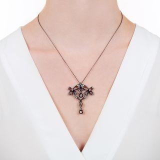 Antique Diamond Bow Necklace, Circa 1890