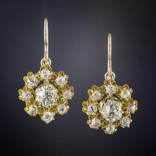 Antique Diamond Cluster Drop Earrings - 2