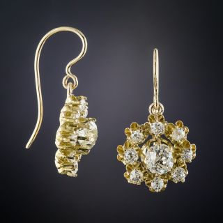 Antique Diamond Cluster Drop Earrings