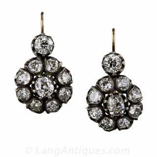 Antique Diamond Cluster Earrings - 1