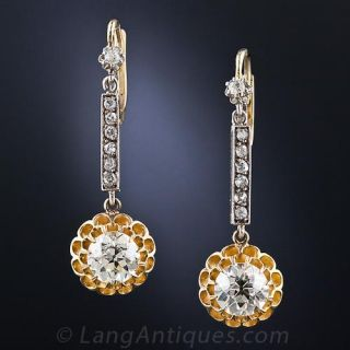 Antique Diamond Drop Earrings - 1