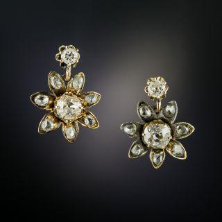 Antique Diamond Flower Drop Earrings - 3