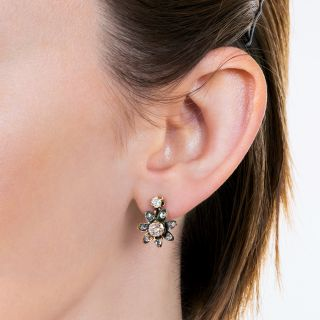 Antique Diamond Flower Drop Earrings