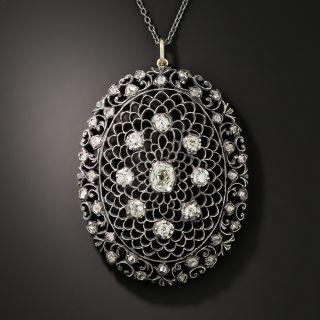 Antique Diamond Openwork Pendant Necklace - 7