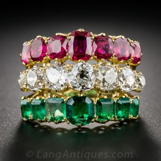 Antique Diamond, Ruby and Emerald  3-in-1  Ring - 1