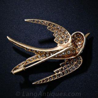 Antique Diamond Swallow Pin