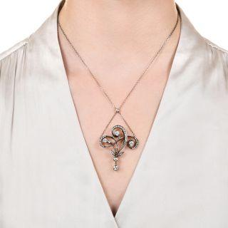 Antique Diamond Swirl Necklace
