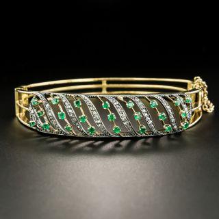 Antique Emerald and Diamond Bangle Bracelet - 2