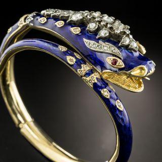 Antique Enamel and Diamond Snake Bracelet - 3