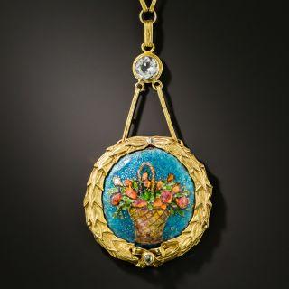 Antique Enamel Flower Basket Necklace  - 2