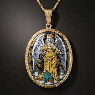 Antique Enameled Angel Pendant Locket - 2