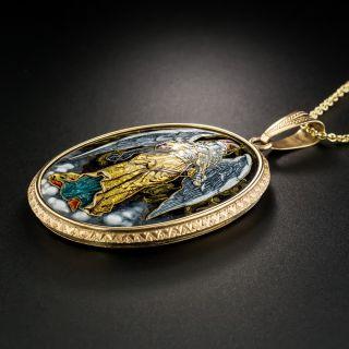 Antique Enameled Angel Pendant Locket