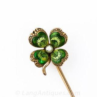 Antique Enameled Four Leaf Clover Stickpin