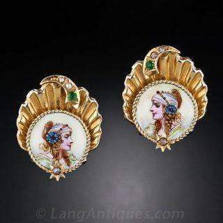 Antique Enameled Portrait Earrings, Circa 1900 - 1