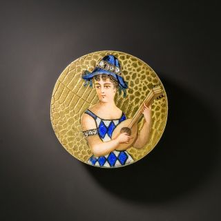 Antique Enameled Lady Lutenist Pin - 2