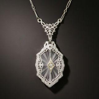 Antique Filigree Quartz and Diamond Pendant - 2