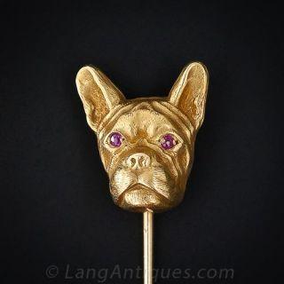 French Bull Dog Gold Stickpin