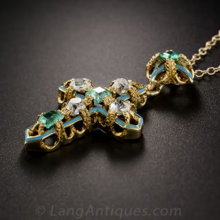 Antique French Emerald and Diamond Cross