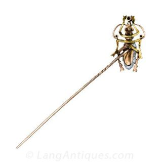 Antique Freshwater Pearl Insect Stick Pin