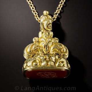 Antique Gold and Carnelian Fob - 1